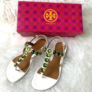 New In Box Tory Burch Green Jeweled Sandal 6.5
